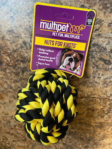 Black Yellow/Gold - Nuts For Knots Med Ball 29002 Dog Chew Toy Go Fetch Run Rope