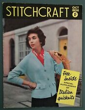 Vintage 50s STITCHCRAFT magazine Oct 1956 original knitting patterns toy fox