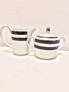 Ralph Lauren Home Sugar Bowl and Creamer Set Spectator Black