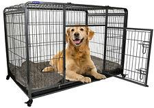 Premium Heavy Duty Dog Crate Cage with Nylon Wheels - Size Medium to Extra Large