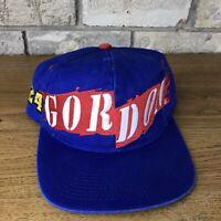 Vintage 90s Jeff Gordon #24 Snapback Hat Cap NASCAR Blue Unique Fan Sideline Vtg