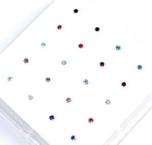 Sterling Silver 10 Multi Colours Round Claw Set Crystal Nose Studs x20