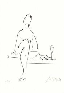 """Original Lithographie Armin Mueller-Stahl """"Akt mit Wein"""" handsigniert Zertifikat"""