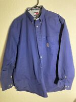 Tommy Hilfiger Mens Button Front Shirt Long Sleeve Blue  Large 100% Cotton