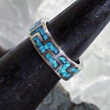 Echte Edelstein-Ringe im Band-Stil aus Sterlingsilber mit Türkis