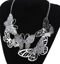 Fashion Women Big Butterfly Statement Bib Pendant Choker Chain Necklace Collar