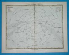 1881 ORIGINAL ANTIQUE MAP OF THE NORTHERN SKY ASTRONOMY CONSTELLATIONS ZODIAC