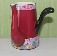 Shelley England Magenta Swansea Lace Chocolate Coffee Tea Pot for 1 Cup 11302