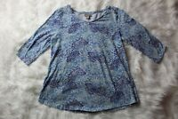 J Jill Blouse Paisley Shades of Blue 3/4 Sleeve Cotton Womens Size Petite Small