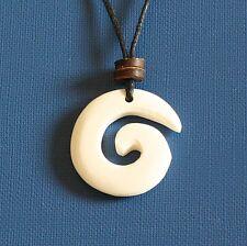 Maori Bone Carved Pendant Choker Necklace Spiral Swirl with Black Cord