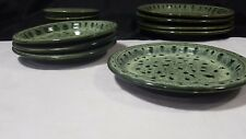 """Fosters Pottery Of Cornwall Green Honeycomb Glazed 7.25"""" Side Plates"""
