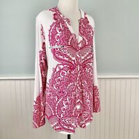 New *Defects SIZE XL INC Pink White Paisley Long Sleeve Stretch Shirt Top Blouse