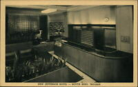 Jefferson Hotel South Bend Indiana midcentury modern ~ 1950-60s vintage postcard