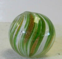 #12192m Large .82 Inches German Handmade Onionskin Lutz Marble
