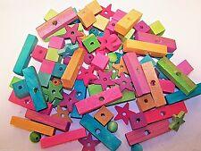 100 Bird Toy Parts Assortment  Small Bird Parrots Rats Wood Blocks Beads NEW