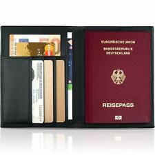 Echt Leder Reisepass-Hülle mit RFID Schutz - Reisepass-Etui und Reisebrieftasche