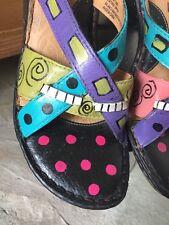 Jill Stern Wearable Art Hand Painted Artisan Slip On Sandal Size 11 OOAK
