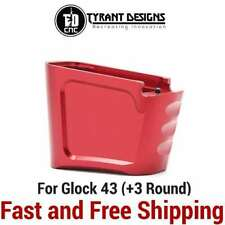 Tyrant Designs Drop-In Plus 3 Magazine/Grip Extension for Glock 43 Mag- Red