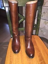FRYE WOMEN'S LINDSAY PLATE LEATHER RIDING TALL Cognac 76976 BOOTS $398 Size 6
