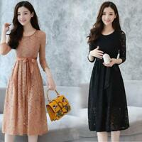 Women's Vogue Lace Floral Korean Evening Cocktail Formal Long Sleeve Party Dress