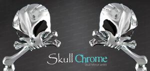 Skull Aluminum Chrome Mirrors w/ Black Eyes Harley Davidson Chopper Bobber
