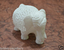 "4"" White Marble Stone Elephant Statue Hand Carving Filigree Art Decor Gifts H664"