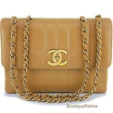Chanel Vintage Beige Caviar Jumbo Classic Mademoiselle Flap Bag 24k GHW 63813