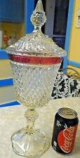 English Hobnail Clear Westmoreland Diamond Point Compote W/ Cranberry Red Rim