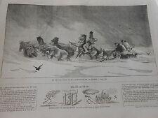 Gravure 1859 - Un Chasse Neige interieure de la Russie