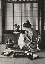 1934 Vintage 11x14 JAPAN ~ Woman Geisha House Interior Photo Art ~ H.G. PONTING