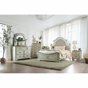 Bedroom White Wash Finish Rustic 4p Set Cal King Size Bed Dresser Mirror NS Wood