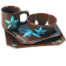 16 Piece Western TURQUOISE STAR Dinnerware Set Kitchen Dinner Glass Dish Set