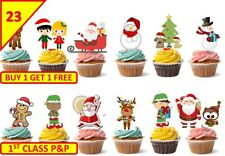 46 Xmas Christmas Santa Tree Cup Cake Toppers Snowman Wafer Edible STAND UP