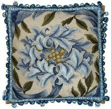 "16"" x 16"" Handmade Wool Needlepoint William Morris Blue Chrysanthemum Pillow"