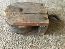 """Antique Wood Pulley 9.5"""""""