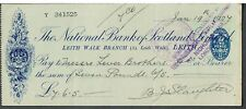 CHEQUE THE NATIONAL BANK OF SCOTLAND 1927 LEITH WALK BRANCH - blue