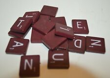 Wood Scrabble Tiles - Maroon Burgundy - Rare