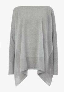 All Saints Fran Grey Silver Mean Oversized Draped Jumper Size S