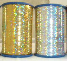 2 Holographic LUREX  Thread Spools  3000 Mtrs each 1 Gold+ 1 Silver