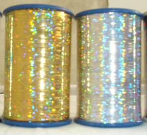 2 Spools of Holographic LUREX High Quality Thread 3000 Mtrs each Gold/Silver