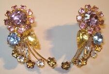 Juliana Jewelry Earrings Pierced Aurora Borealis Designer Vintage Costume 00983
