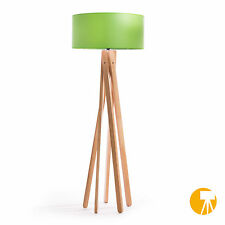 Design Stehlampe Tripod Leuchte Buche Holz H=160cm Stativ Stehleuchte Grün