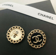 Set Of 2 VINTAGE CHANEL Stamped Gold chain metal buttons 20mm