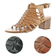 Very Volatile Vertical Women's Leather Block Heel Ankle Strap Dress Sandal Shoe