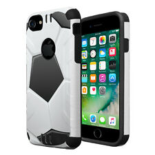 Dual Layer Armor Combat Case for iPhone 7 6s 6 - Soccer Ball