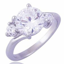 Brilliant Wholesale Cubic Zirconia 9K White Gold Filled Ladies Ring,SZ 6
