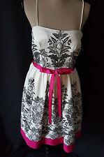 Jessica H White Black Fuschia Floral Dress Sleeveless Cute Elegant Dress sz 10