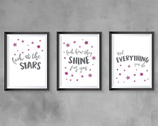 Nursery bedroom prints set of 3 - Coldplay lyrics quotes - grey and pink decor
