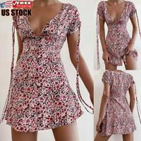 US Women's Summer Boho Floral Mini Sun Dress Ladies Holiday Beach Swing Dress