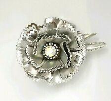 Jagged Layered Cutout Petal Flower Metal Rhinestone Silver Color Flower Brooch